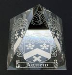 Coat of Arms Family Crest Crystal Pyramid PERSONALISED ref CPFC